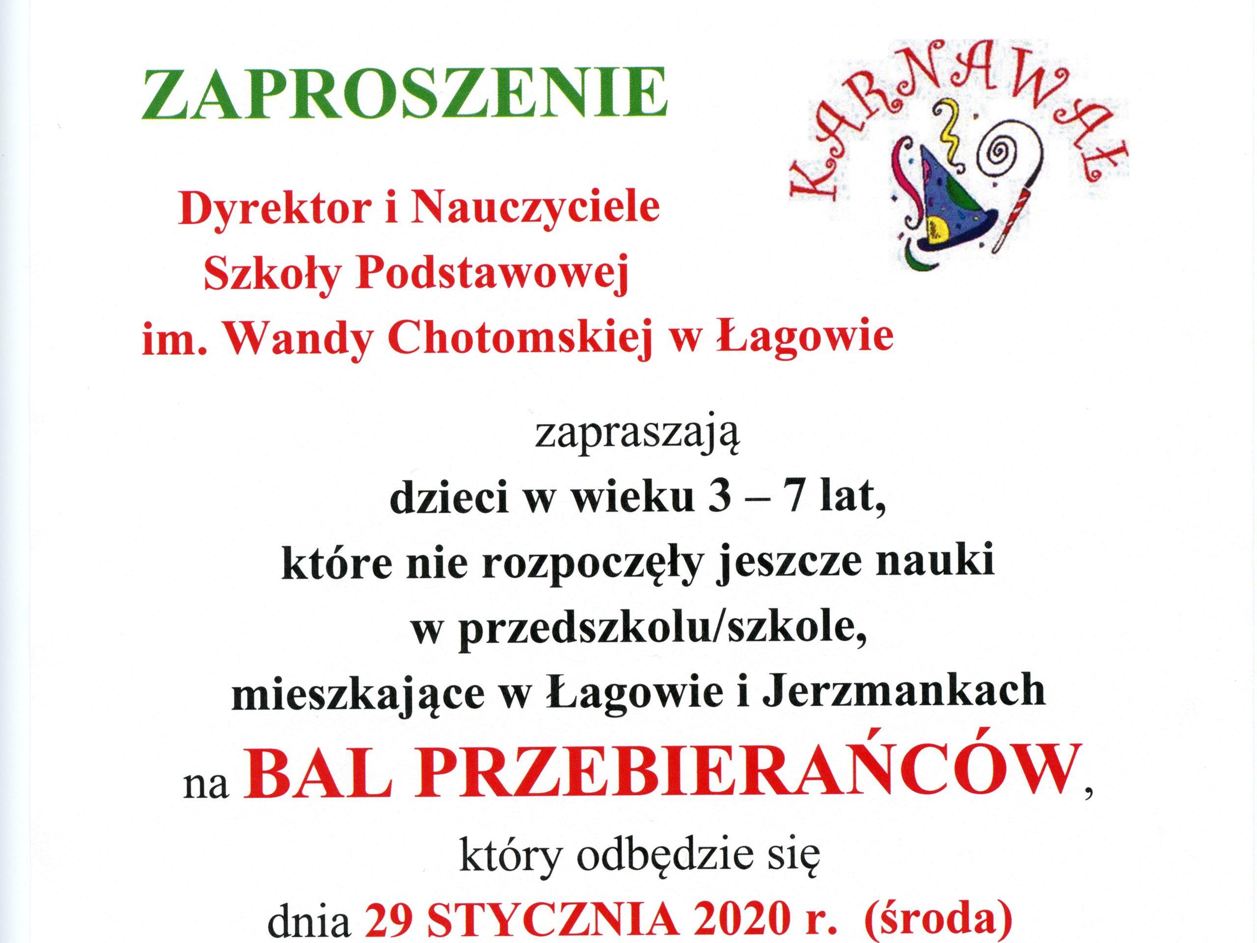 BAL PRZEBIERAŃCÓW W SP W ŁAGOWIE