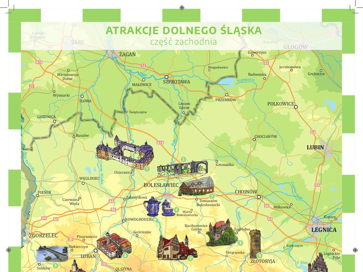 Mapa atrakcji turystycznych Dolnego Śląska