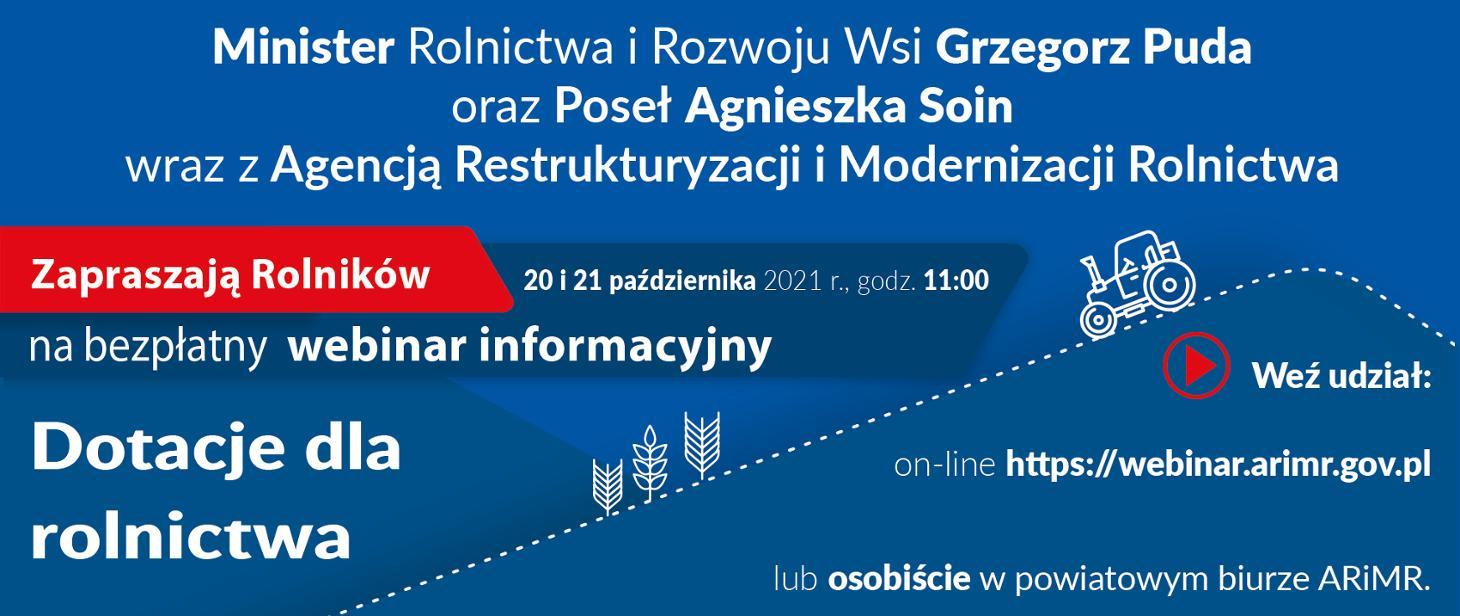 """ARiMR: wkrótce kolejny webinar z cyklu """"Dotacje dla rolnictwa"""""""